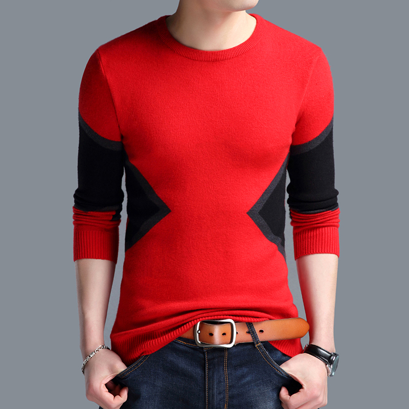 New Arrival Autumn Spring Mens Hit Color Patchwork Plaid Sweater Round Neck Male Plaid Thin Knit Jumper Pullovers