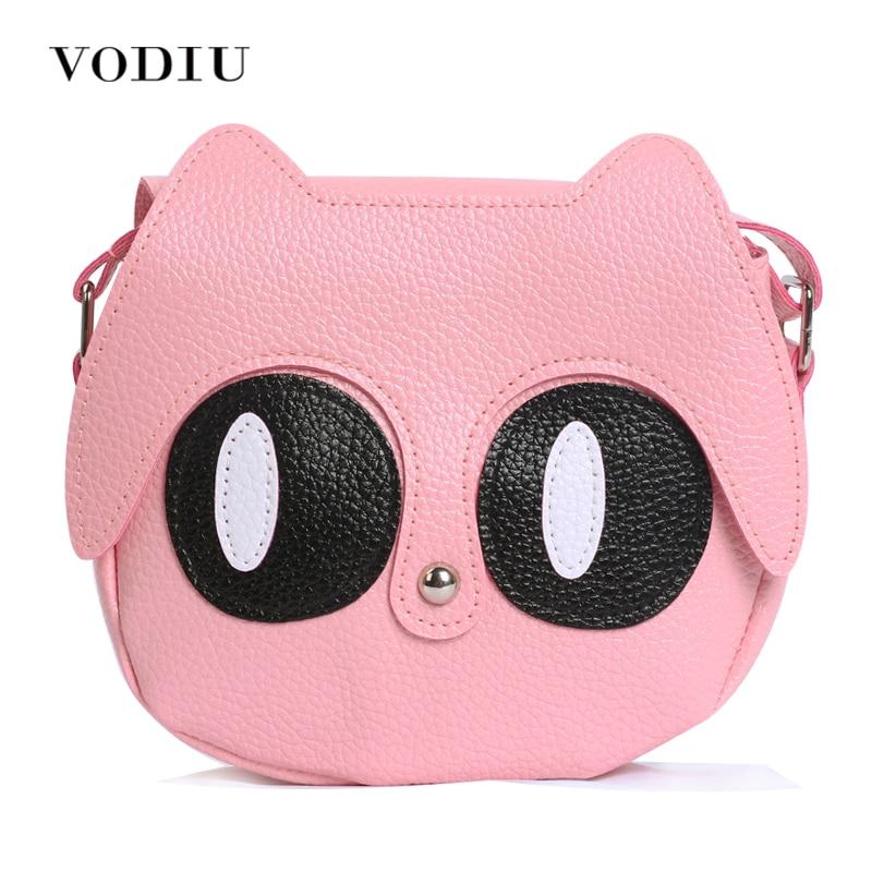 2017 Women Bag Over Shoulder Handbags Crossbody Sling Leather Children Cute Cartoon Print Girl Small Animal Round Phone Handbag