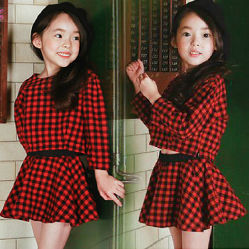 d450a9603 Preppy Style Outfit For Baby Long-sleeve Top Short Skirt Little Girl's  Plaid Twinset Cute Children's Clothes Suit Promotion