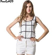 RainRun Hot Plaid Blouse Feminino Chemise Femme Women Blouses White Summer Shirts Sleeveless Tops Chiffon Casual
