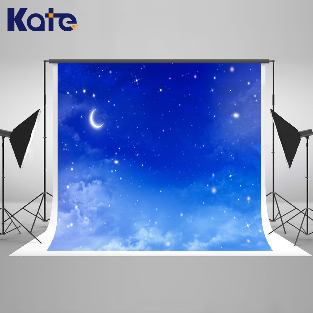 Kate 10x10ft Blue Starry Sky Photography Backdrops Children Bokeh Dream Backgrounds For Photo Studio Moon Photo Booth Backdrop newborn photography background blue sky white clouds photo backdrop vinyl balloons scattered petals backgrounds for photo studio