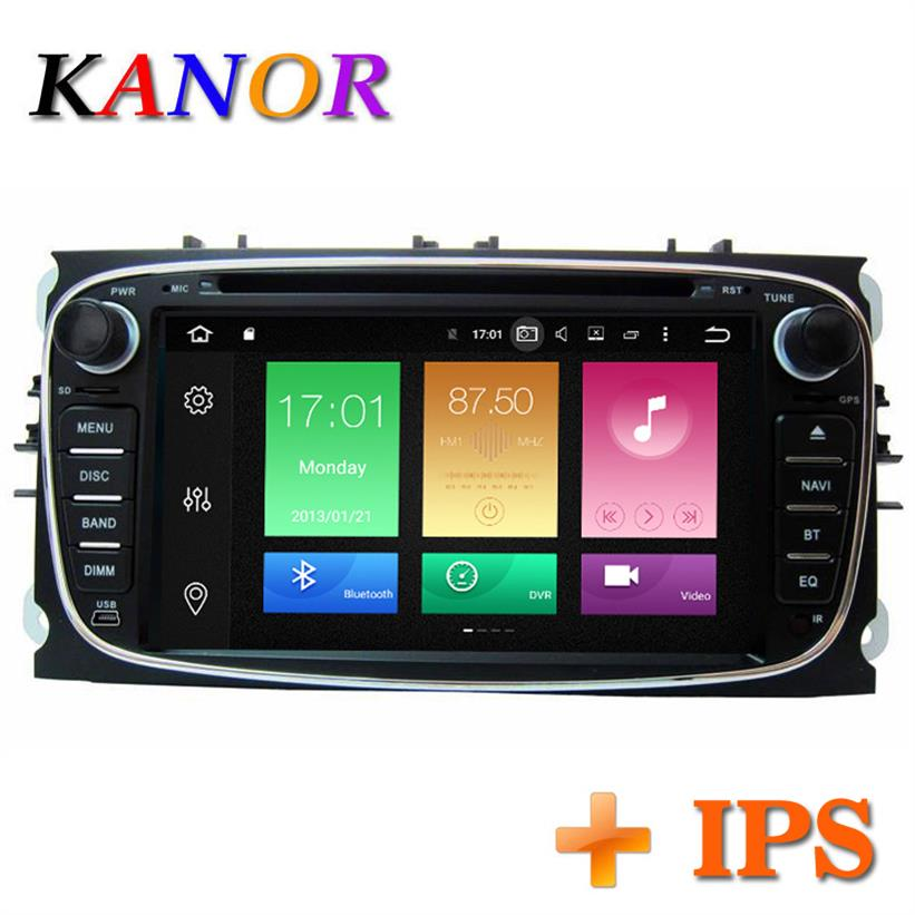 KANOR 7 2 Din Android 8.0 Voiture Lecteur Multimédia Pour Ford Focus 2 S-MAX Mondeo C-MAX Wifi GPS Navigation double din Radio