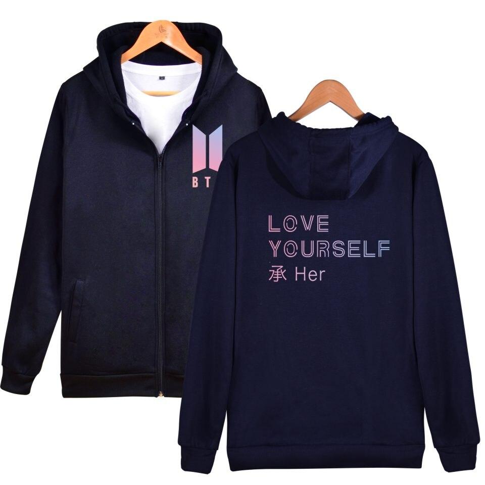 2017 BTS Love Yourself New Album Zipper Harajuku Hoodies Women Winter Bangtan Kpop Sweatshirt Women Hoodies Zipper Cloth