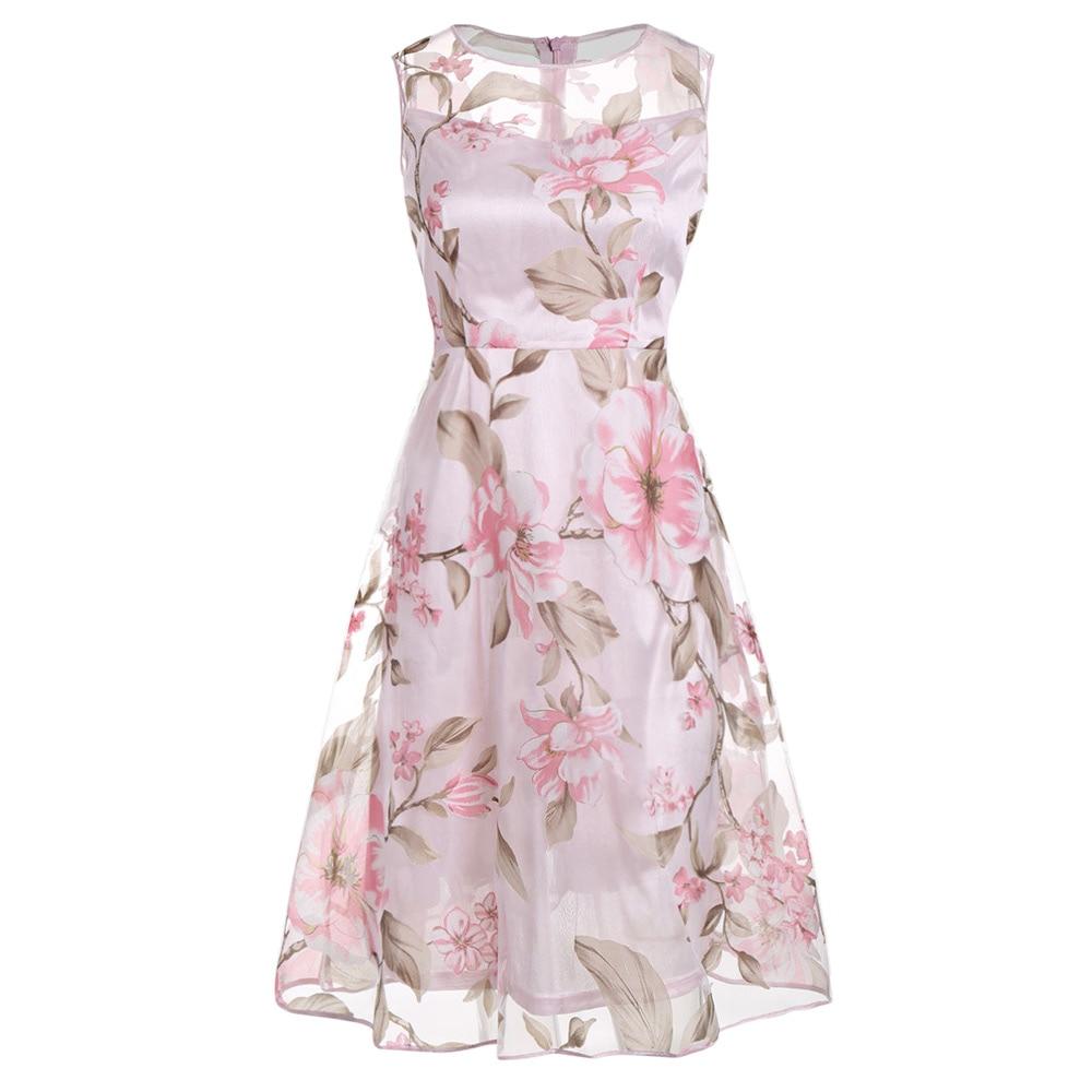 Gamiss Vintage Pink Floral Print Dress Women Retro Sleeveless A Line ...