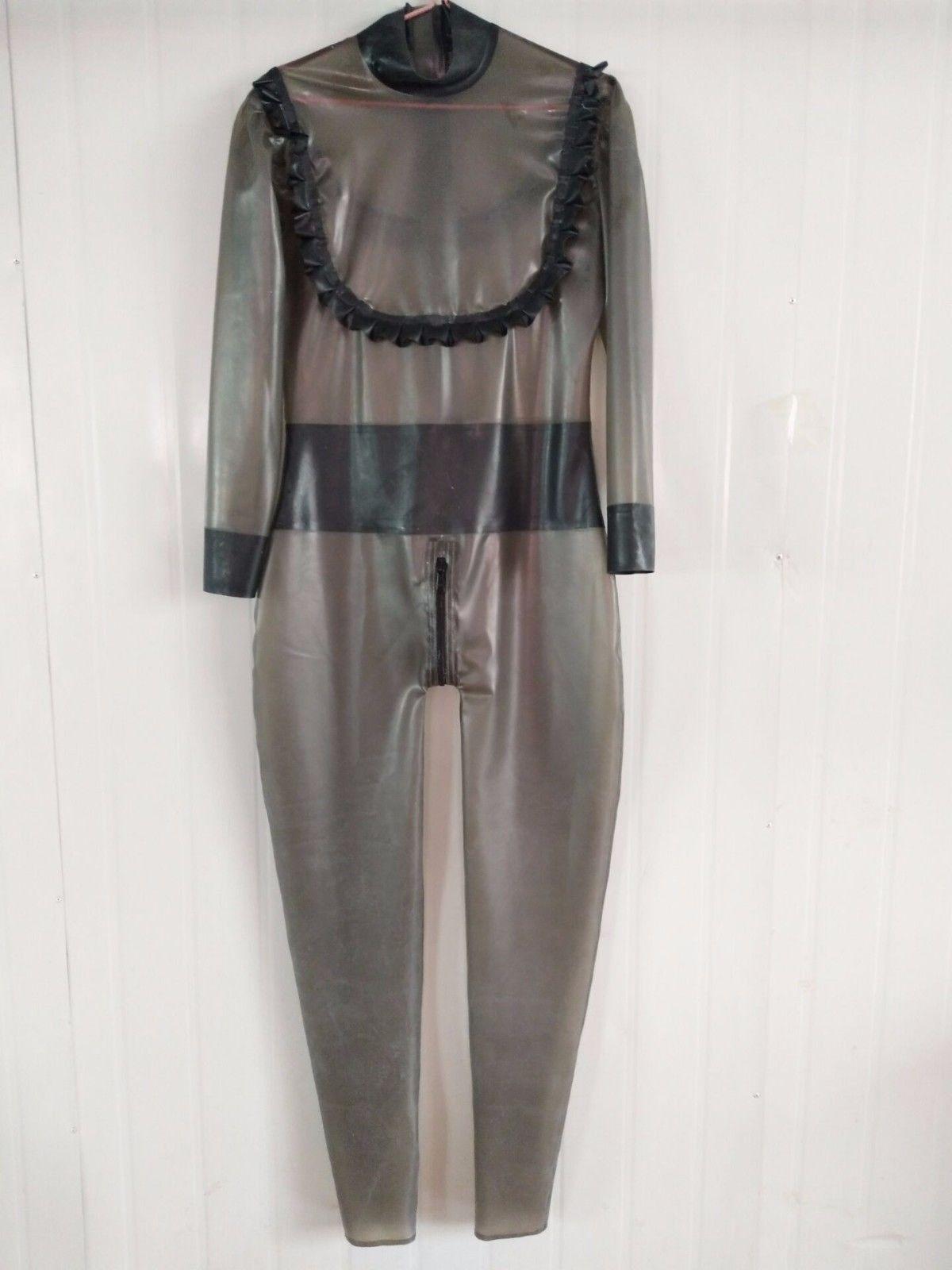 Latex En Caoutchouc Nouveau Design Transparent Noir costume de Corps Poitrine dentelle Combinaison Costume Taille XS ~ XXL