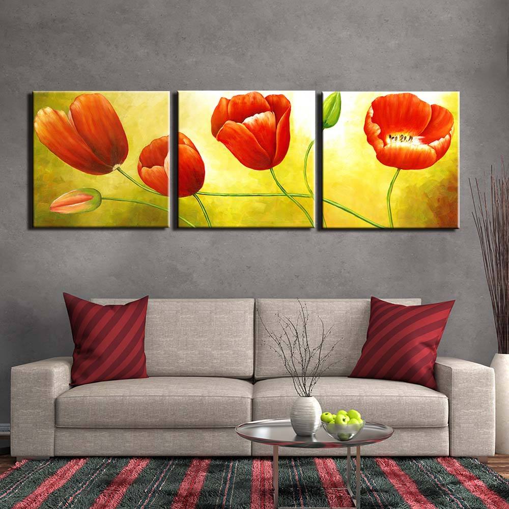 Canvas Print Painting Pictures Wall Art Home Decor Abstract Flowers Frame 3 X