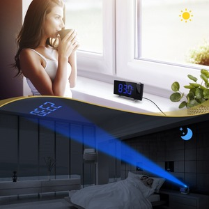 Image 2 - Mpow led fm 投影時計 2 アラーム多機能曲面スクリーン 5 レベル表示輝度 4 調整可能なアラーム音 wekker