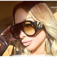 2018 Forma Oval Óculos Oversized Óculos de Sol Para As Mulheres Marca  Designer Leopard Shades UV400 Preto Grosso Quadro Óculos d. 63dca8073f
