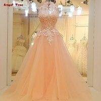 Cheap formal vestidos de fiesta de cuello alto una línea sin mangas piso longitud backless atractivo rebordeado tulle vestido de noche rosa