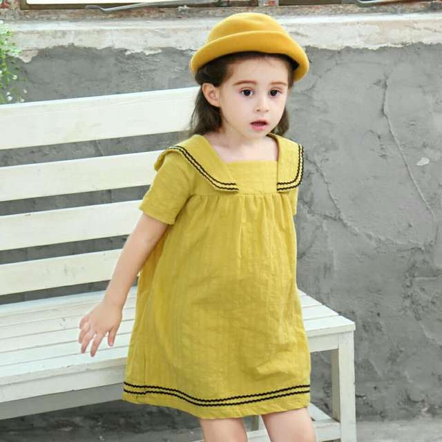 b772c9238a4c3 US $8.49 52% OFF|Girls summer dress sailor collar navy wind style for 1 8  year old children clothing baby cotton England princess kids dresses-in ...