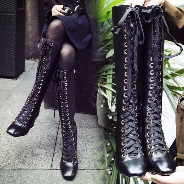 AVVVXBW Fashion Women Knee-High Boots Lacing Long Boots Genuine Leather High-heeled Motorcycle Boots Side Zipper Winter Botas