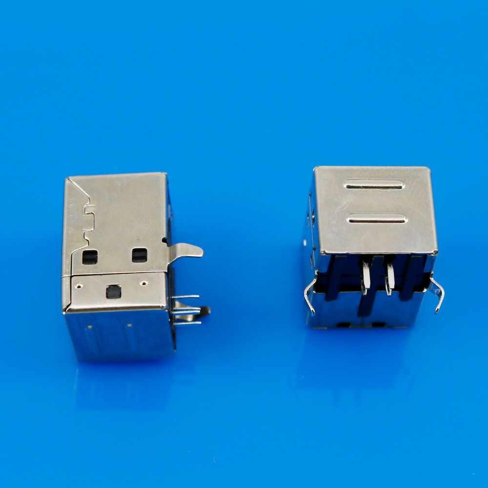 Occus Yoton IMC Hot 1 Pcs USB Female Type-B Port 4-Pin Right Angle PCB DIP Jack Socket Cable Length: 1pcs