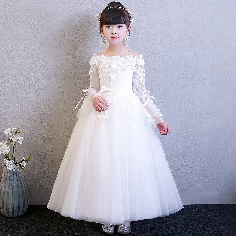 Shoulderless Lace Floral Princess Dress White First Holy Communion Dress Long Sleeve Ball Gown Flower Girl Dresses for Wedding