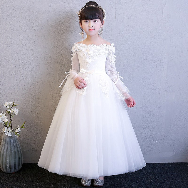 65947925feb Shoulderless Lace Floral Princess Dress White First Holy Communion Dress  Long Sleeve Ball Gown Flower Girl Dresses for Wedding