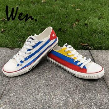 83b41de5f9a Wen Design Mão Personalizado Pintado Sapatos Colômbia e Cuba Bandeira Low  Top Tênis de Lona do Homem Mulher para Presentes de Natal