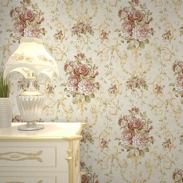 Non Tisse Tissu Papel De Parede Relief Fleur Flocage Papier Peint