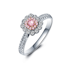 Luxury 18K Gold And White Gold Pink Diamond Ring Genuine Female Customized Roses