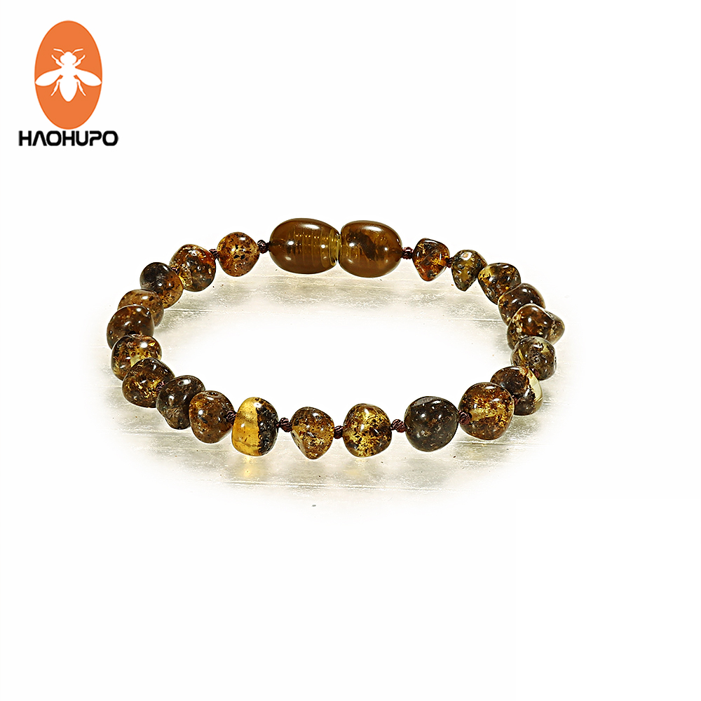 HAOHUPO Baby Amber Bracelets Handmade Jewelry Original Baltic Ambar Beads Strand Anklets Pulseras for Kids Adults Women Girls