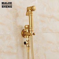 Shower Toilet Bidet Faucet ABS Bidet Shower Shower Bidet Spray Golden Brass Bathroom Shattaf Portable Bidet