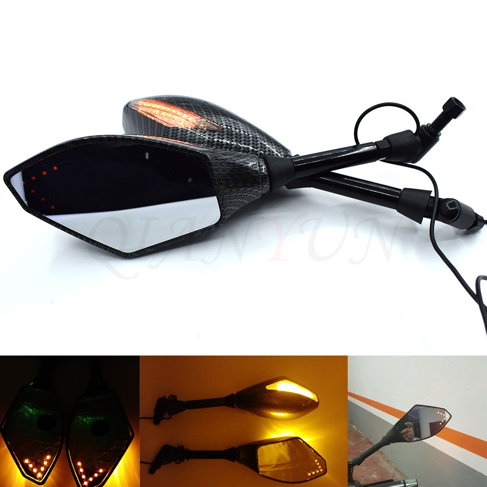 Universal Motorcycle mirrors Carbon Fiber LED Turn Signals Rearview Mirrors For BMW K1600 K 1200 1300