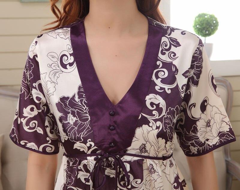 Estilo de verano pijama sets Sleep & Lounge falda de seda femenina ...