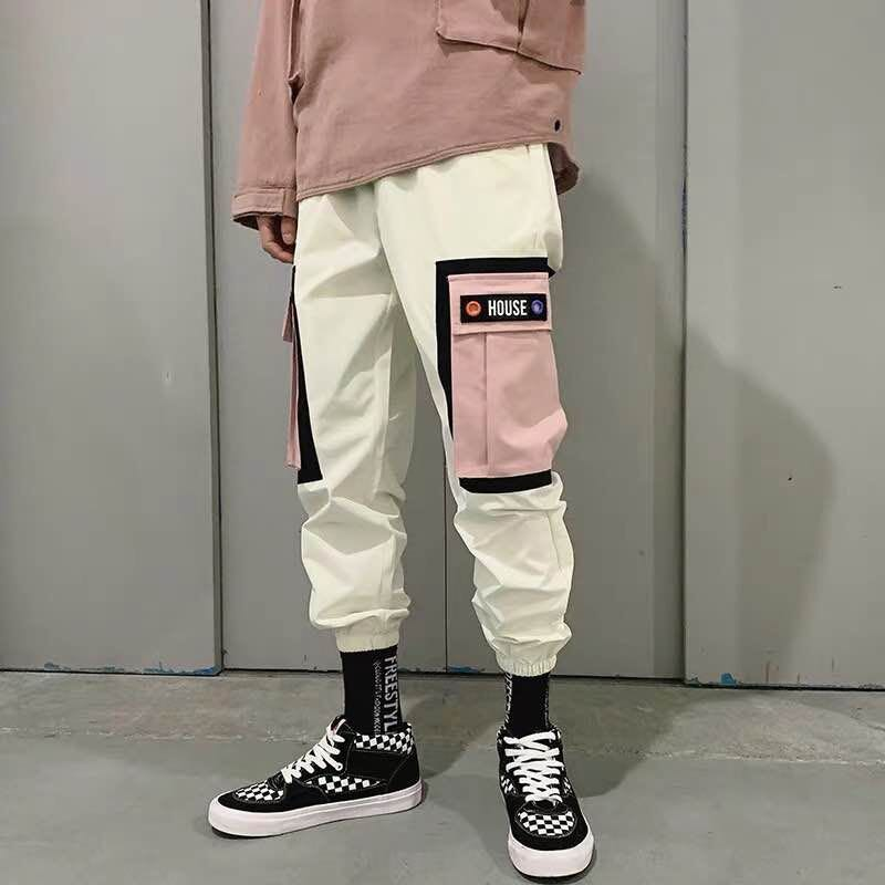 Harajuku Jogger Pant Streetwear Sweatpant Hip-Pants Cotton Trousers Color-Block Harem