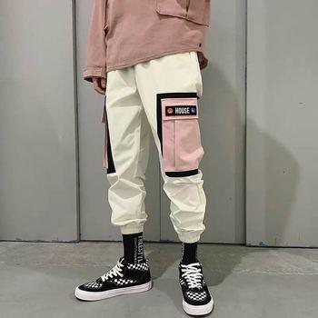 Hip Hip spodnie vintage kolor bloku Patchwork sztruks haremki bojówki spodnie Streetwear Harajuku Jogger spodnie dresowe spodnie bawełniane 2020 tanie i dobre opinie Acacia Person Harem spodnie Mieszkanie COTTON Kieszenie REGULAR 22 - 38 Pełnej długości A39K8055 Hip Hop Midweight Kostki długości spodnie