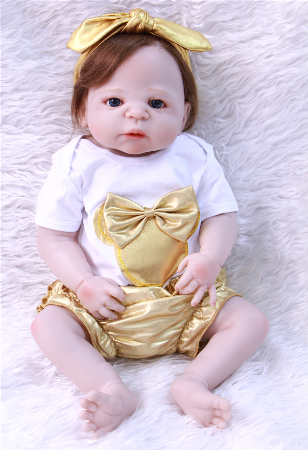 soft hair reborn doll girl 55cm Full Body silicone Reborn babies Dolls brown eyes Lifelike baby Toy for Children Christmas Gift soft hair reborn doll girl 55cm Full Body silicone Reborn babies Dolls brown eyes Lifelike baby Toy for Children Christmas Gift