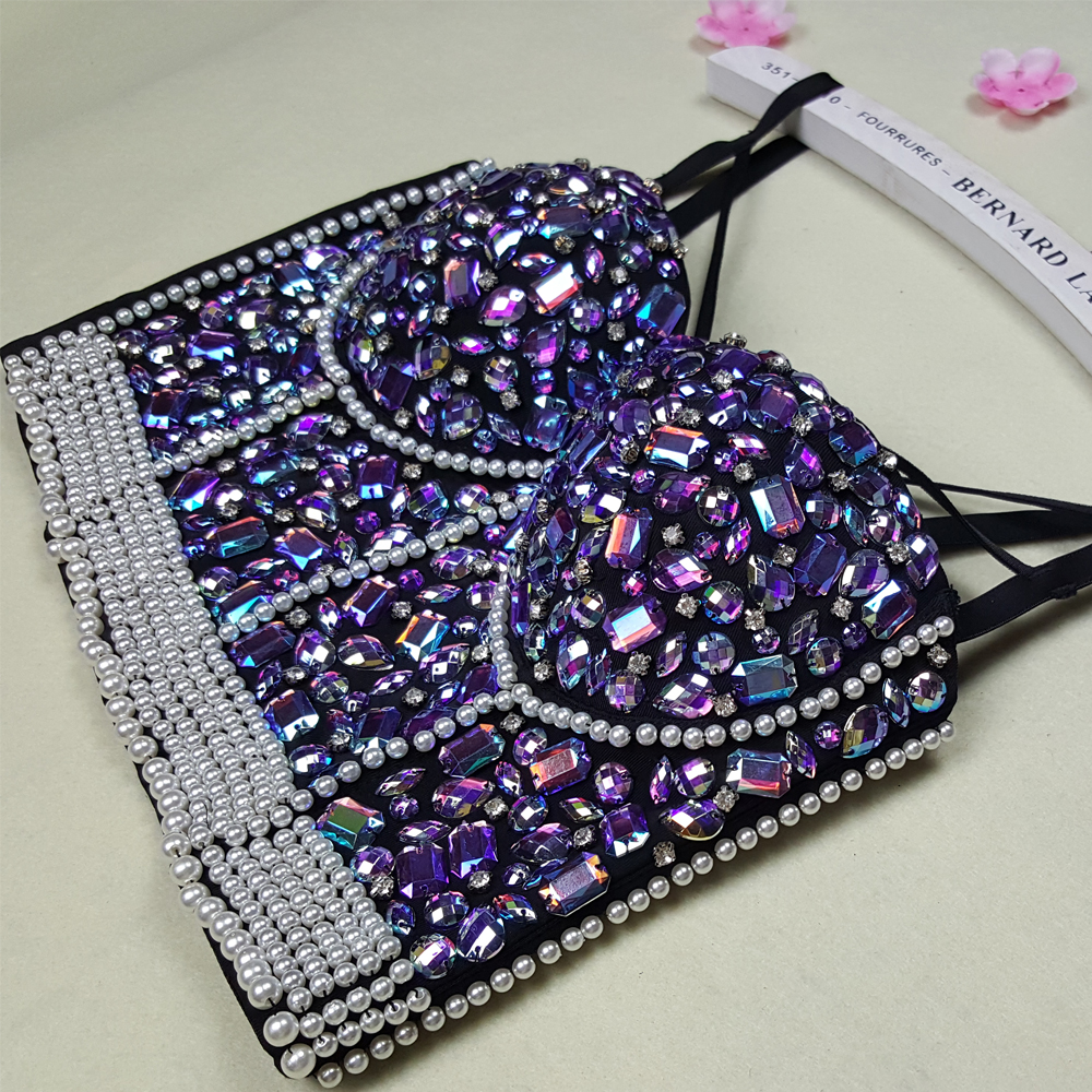 f579297b5 New High Quality Handmade Sexy Women Crystal Rhinestone Embroidered Bra Top  Jeweled Beaded Bra Pearl Strip Bustier Cropped Top-in Tank Tops from Women s  ...