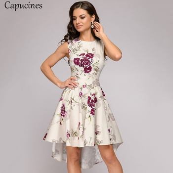 Capucines Ladies Short Before Swallow Tail Dresses Women Sleeveless O-Neck Summer Dress Vintage Printing Party Dress Female