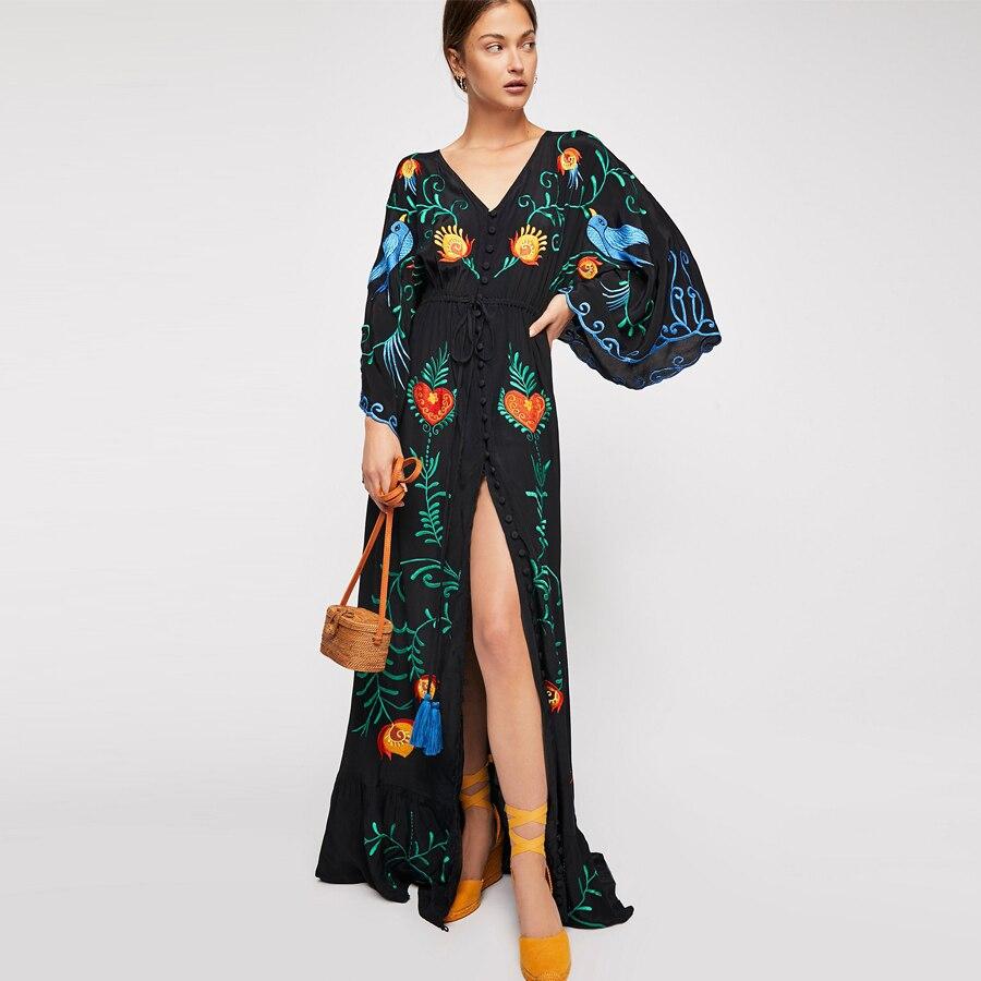 TEELYNN maxi robe Vintage noir oiseau floral broderie coton robes taille élastique lâche marque longue boho femmes robes Vestido