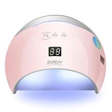 Сушилка для ногтей SUN UV SUN6 48 Вт с автоматическим датчиком, портативная УФ лампа для сушки, модель с низким уровнем нагрева, светодиодная лампа с двойной мощностью для быстрого маникюра и ногтей