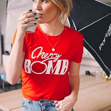 650ab9b6 Hot Sale Women tshirt Funny Cherry Bomb Letters Printed Short Sleeved  Cotton Summer Top Harajuku Plus T shirt Women Tumblr New