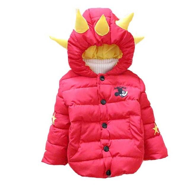 Frete grátis 2016 inverno New infantil meninos snowsuit chapéu do dinossauro espessamento bebê para baixo casaco A341