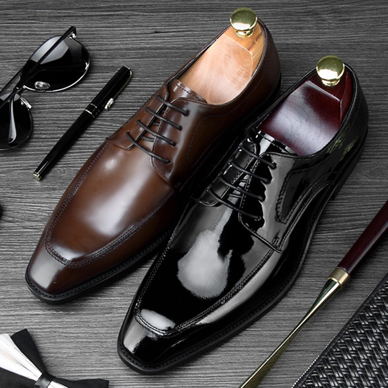 2018 Luxury Square Toe Derby Man Formal Dress Shoes Genuine Leather Handmade Modern Oxfords Mens Wedding Party Footwear NE702018 Luxury Square Toe Derby Man Formal Dress Shoes Genuine Leather Handmade Modern Oxfords Mens Wedding Party Footwear NE70