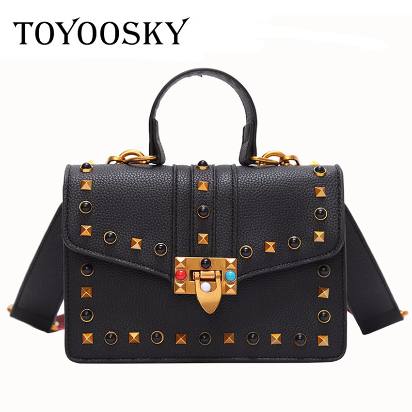 TOYOOSKY New Small PU Leather Women Crossbody Bags Lady Colorful Strap Rivet Flap Bag Women Messenger Bag Ladies Hand Bag 2018