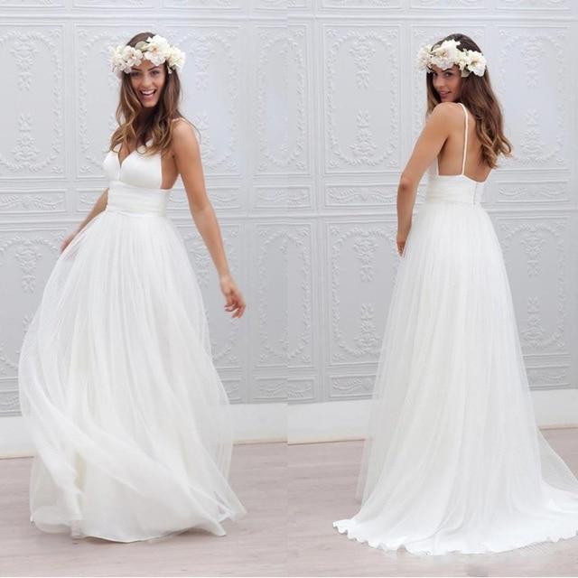 289ba94259 vintage Bohemian Beach Wedding Dresses Cheap Spaghetti Straps Pure White  Simple Style Fairy Plus Size Country