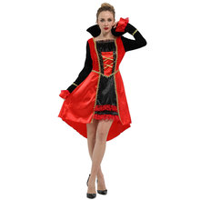 Womens Midnight Queen of Vampiress Costume Halloween Carnival Mardi Gras Party Fancy Dress