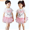 Malayu Baby brand girl sets 2016 summer new children's cat short-sleeved T-shirt + yarn skirt skirt two-piece bamboo cotton