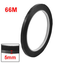 Uxcell Hot Sale 5mm Width 66m Length Waterproof Black Single Sided Adhesive Marking Tape Seamless Whiteboard Warning 1PCS