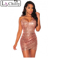 Robe Sexy Dentelle Summer 2016 Club Dress Spaghetti Strap Rose Gold Sequin Sexy Backless Club Wrap
