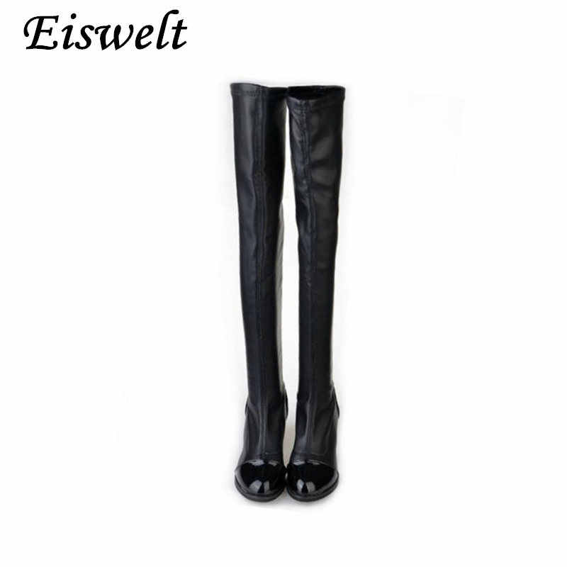 EISWELT ที่มีคุณภาพสูงสตรีเข่าสูงรองเท้าสบายต้นขาสูงสีดำส้นหนาต้นขาขี่ผู้หญิงรองเท้า 2018