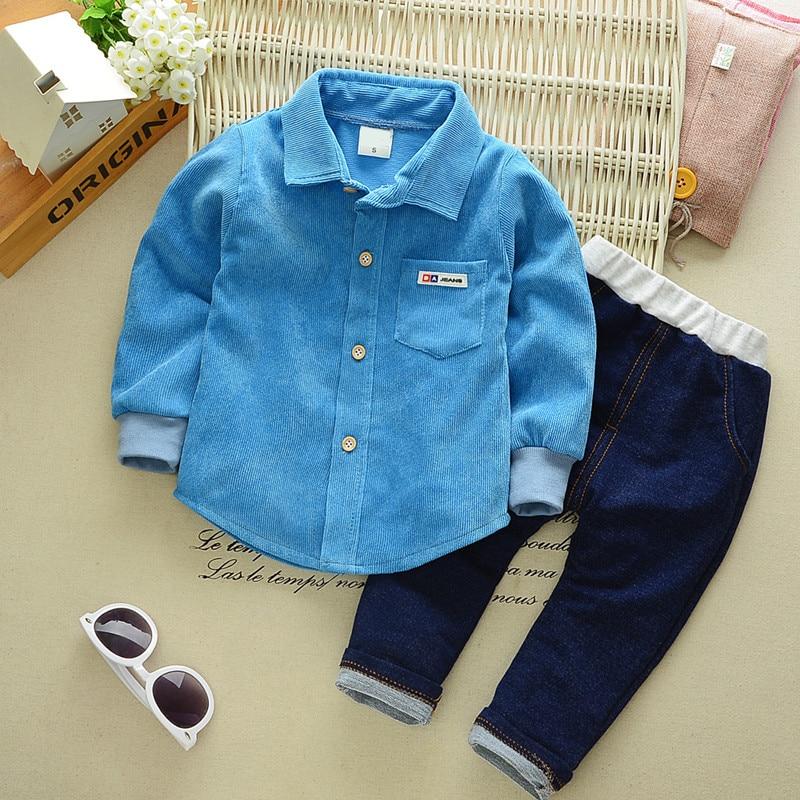 2pcs Baby Clothing Sets Kids Clothes Autumn Baby Cotton Sets Kids Long Sleeve Sports Suits Tshirts + Jean Pants B0323