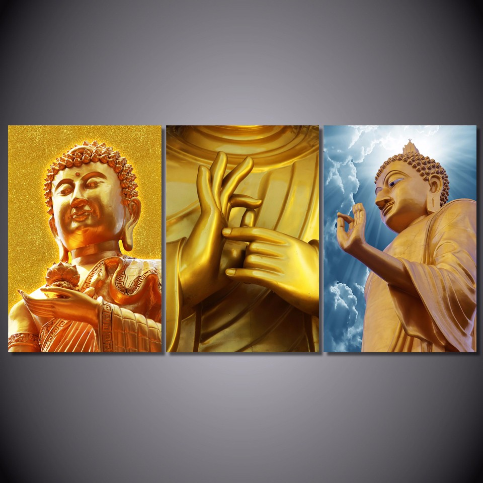 Promotion High Quality HD print 3 piece buddha canvas golden ...