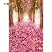 Laeacco Floral Trees Pink Scenery Personalized Photocall Canvas Photography Backgrounds Photographic Backdrops For Photo Studio