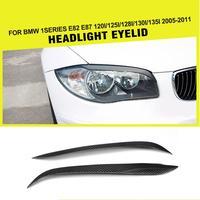 Carbon Fiber Auto Car Side Headlights Eyelids Eyebrows Trim Cover for BMW 1 Series E81 E82 E87 E88 2004 2013