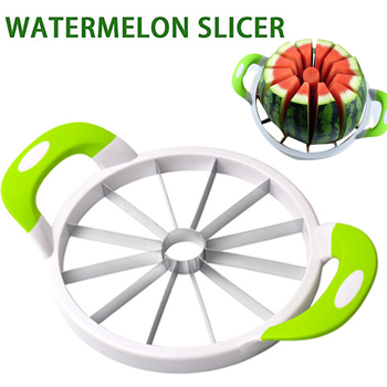 Extra Large fruit Slicer Comfort Silicone Handle Home Stainless Steel Fruit Cutter Peeler Server for Watermelon Honeydew etc image