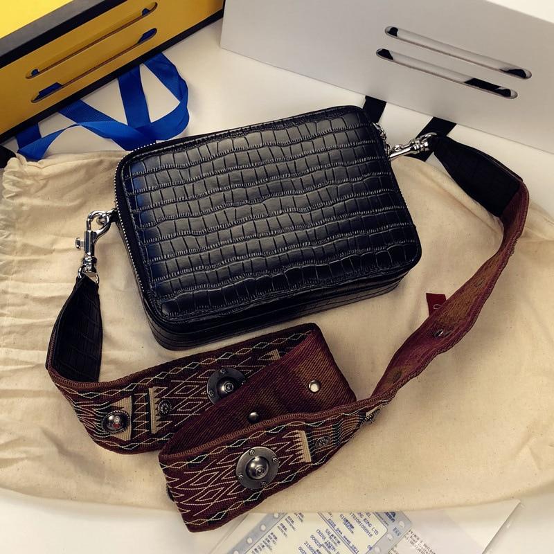 New Arrival Genuine Leather Fashion Women's Handbag Alligator Print Shoulder bag Wide Strap Simple Solid Color Messenger Bag