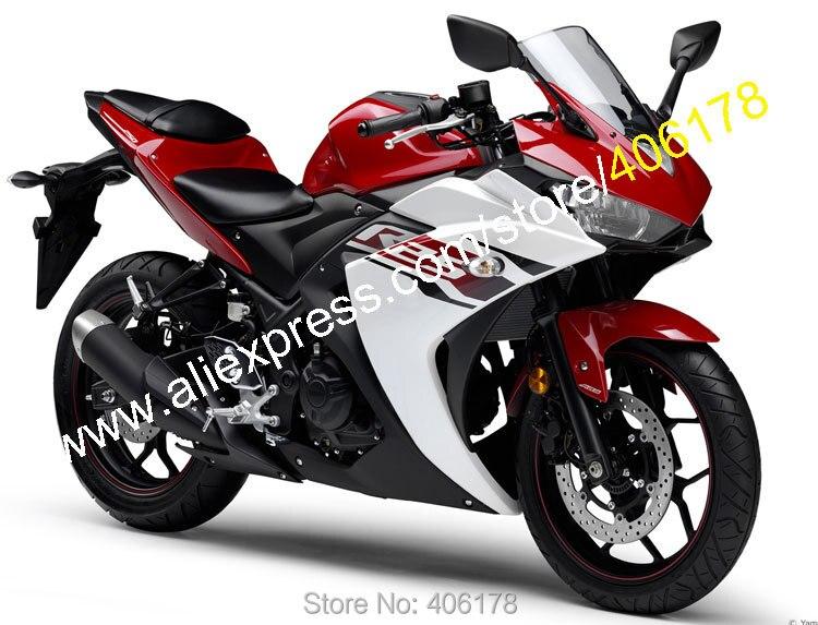 Hot Sales,Body Kit For Yamaha R25 R 25 15 16 R3 R 3 2015 2016 Red White Black Bodyworks Motorbike Fairing (Injection molding)