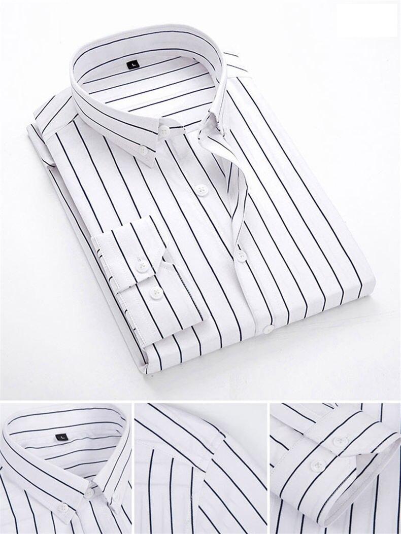 5XL Plus Large Size Striped Shirts Men Long Sleeve Casual Autumn Spring Classic Male Shirts Non-Iron Dress Shirts Man Muls Brand 3
